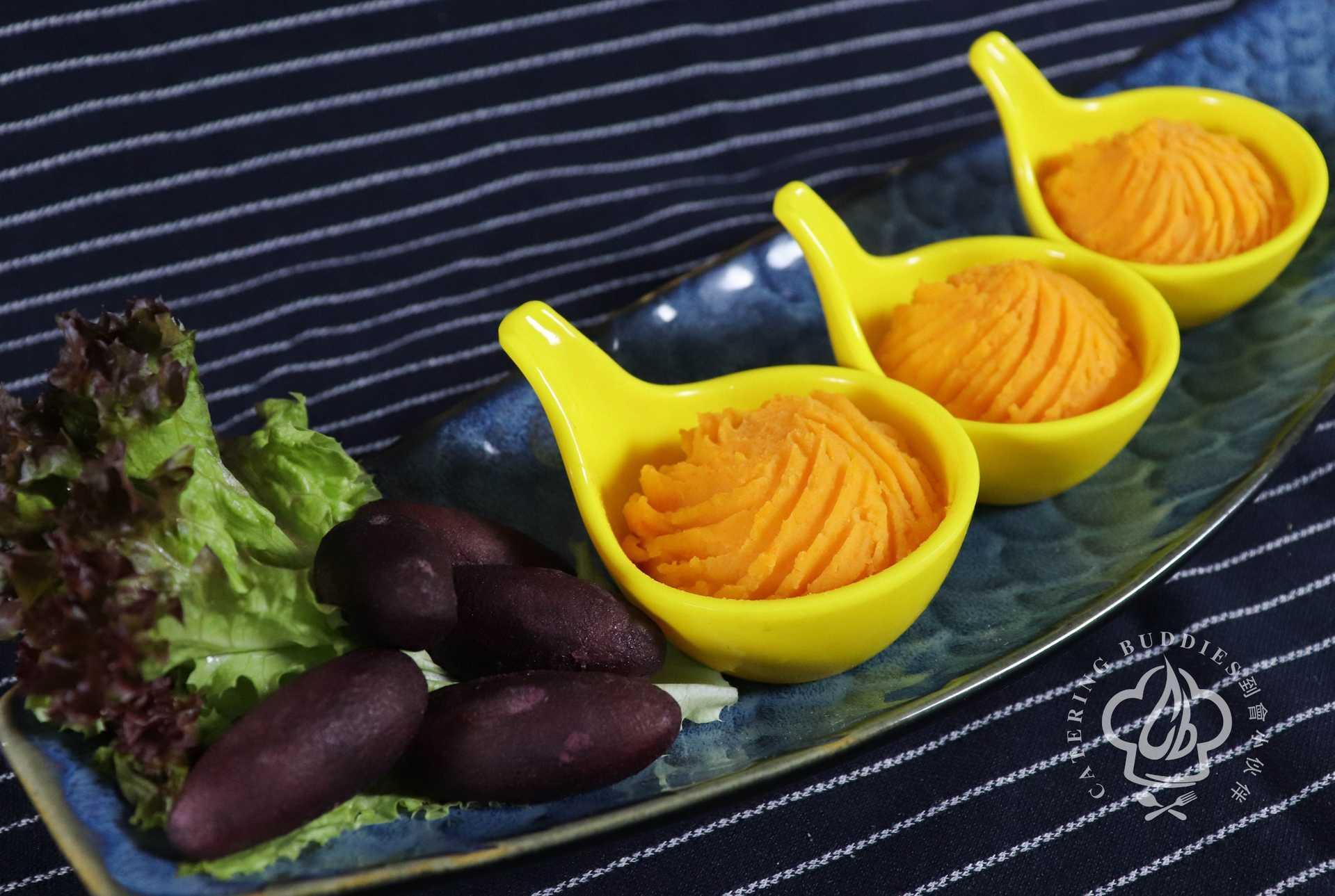 迷你日式紫薯配黃金粟米南瓜薯蓉 (9件)