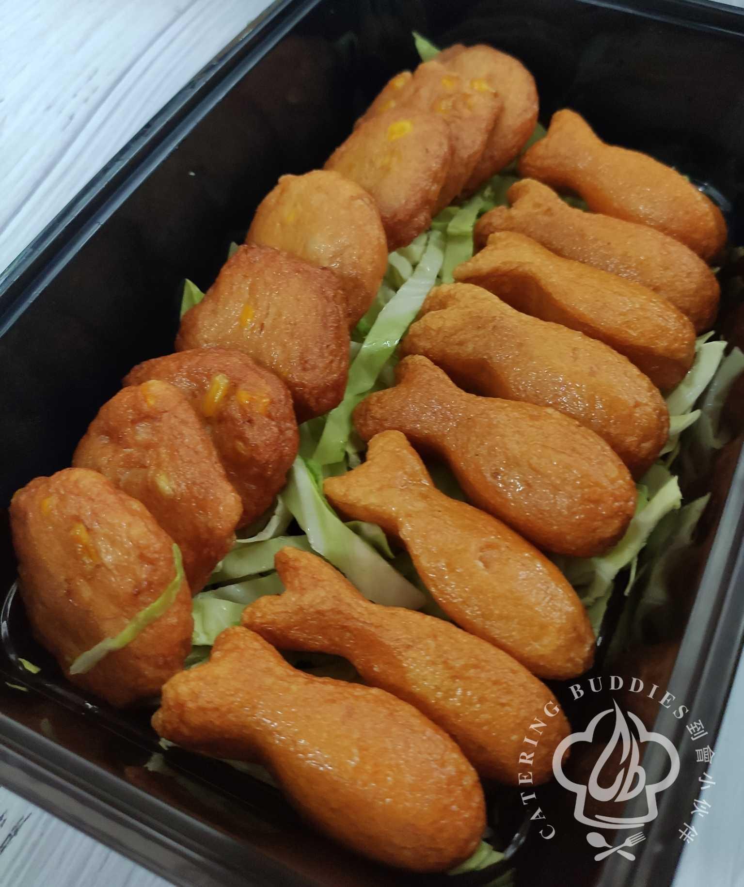 雙雙魚餅: 炸粟米墨魚餅拼一口魚餅(15件)